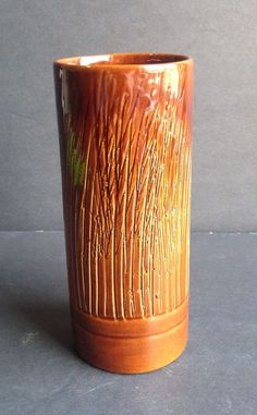 Frankoma Textured Vase (#11) in Sorghum glaze over Ada clay, ca. 1951-53.