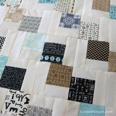 Mini Falling Charm Pack Table Runner closeup of blocks