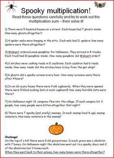 best multiplication images on pinterest  school multiplication  spooky math multiplication word problems halloween math halloween  worksheets