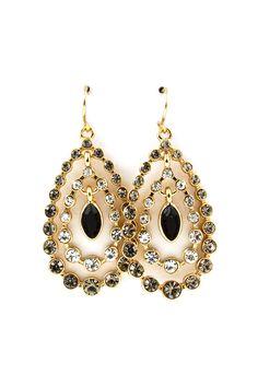 Beverly Teardrop Earrings in Black Diamond