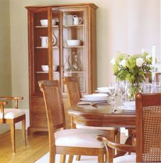Willis and Gambier Lille Collection dining table, dining chairs, carver chairs and display cabinet