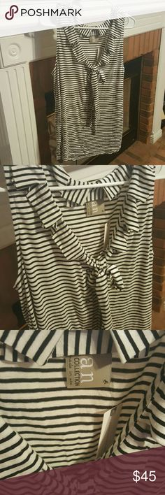CCO Sale **HP**🎉 NWT Anthropologie Ruffle Top Love the ruffles and stripes on this top, and it is super soft! This medium is loose fitting, as the style is intended to be. It could potentially fit a large depending on fit and chest. I love the versatility of this top and the staple black and white trend. Pair with shorts and some converses for an easy weekend vibe, or dress it up with some dark skinny jeans and nude or black pumps for grabbing a drink with a friend! Anthropologie Tops