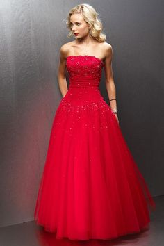 Strapless Prom Ball Gown Lace and Tulle Empire Waist  Beading Floor Length Prom/Homecoming/Bridesmaid/Formal Dresses
