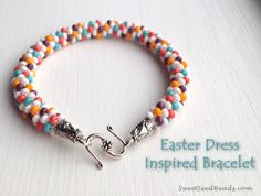 Candy colored beaded kumihimo bracelet (step by step instructions)