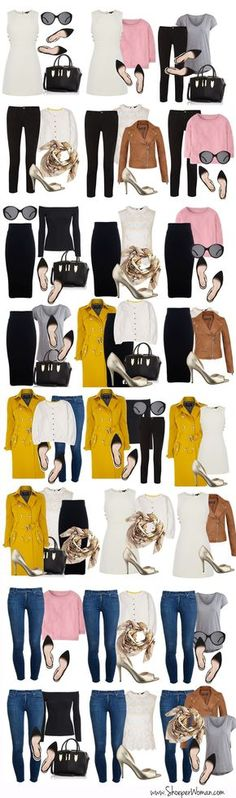 selection of outfits created from a 16-piece minimal capsule wardrobe