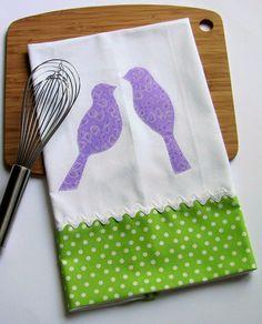 Purple Love Birds Appliqued Kitchen Tea Towel by shamsandcoverups, $16.00