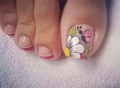 Cute Pedicure Designs, Toe Nail Designs, Nails & Co, Pink Nails, Pedicure Nail Art, Toe Nail Art, Cute Toe Nails, Pretty Nails, French Nails