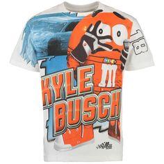 Kyle Busch Checkered Flag Total Print T-Shirt - White