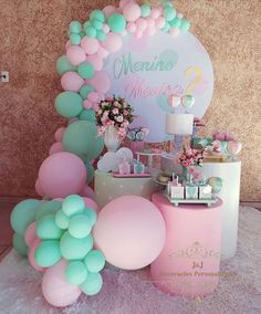 Gender Reveal Party Decorations, Baby Gender Reveal Party, Girl Baby Shower Decorations, Balloon Decorations, Baby Shower Themes, Anniversaire Candy Land, Barbie Birthday Cake, Happy Birthday Video, Reveal Parties