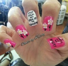 nailsbykristy on Instagram! Walking dead nails. Look at the flowers Lizzie!