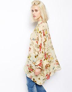ASOS Oversized Seam Detail Kimono Blouse in Floral Print