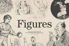 25 Vintage Figures - Vol.4 by MARTINI Type Designer on @creativemarket