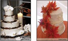 Fall wedding cake design with silk leaves