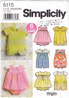 Simplicity 7032 Babies Dress, Romper and Headband Sewing Pattern XXS-L Uncut