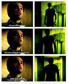 Chilling... This whole scene in the confession booth when he starts talking about his dad is equal parts chilling and heartbreaking because his voice starts breaking when he describes how his father used to catch his opponent in the corner and 'let the devil out' but also how he says he used not to understand but now he does. And the fact that he understands that dark place very well now is scary, but it also scares him and that's sad. Ugh! :)))