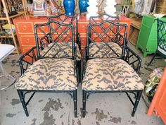 Faux Bamboo CHIPPENDALE Arm Chairs for the Game Table :)