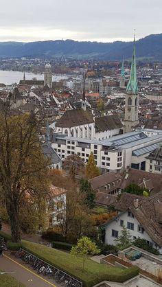 Grossmünster, Fraumünster, and Predigerkirche (front) in Zürich, seen from ETH Zürich plateau