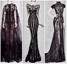 Gorgeous gothic black lace dresses #fashion Reminds me of Tim Burton