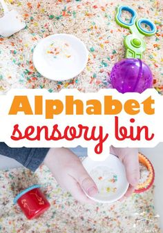 Create a fun alphabet sensory bin for your preschoolers! All you'll need is alphabet pasta and rice (along with fun sensory bin tools) to make this bin! via @lifeovercs