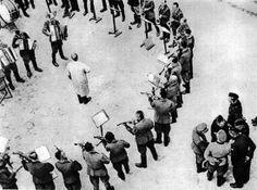 "The Jewish members of the Lwów Philharmonics playing the ""Tango of Death"" in Lwów's Janówska death camp"