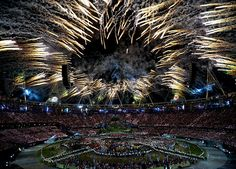 Fireworks around the Olympic Stadium