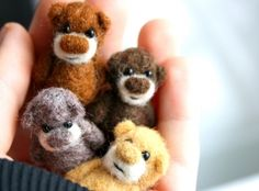 A set of 4 miniature bears - for a special price - made to order - Etsy