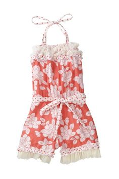 Floral Print Polka Dot Ruffle Trim Jumper  by Mia Belle Baby on @HauteLook