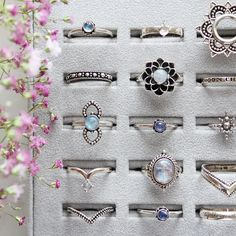 So many beautiful jewels to choose from, how will you stack yours?✧✧ Shop the treasures from our Ice Queen's trove at www.shopdixi.com ✧✧ // shopdixi // icequeen // shop dixi // boho // bohemian // winter // ice // hippie // jewellery // jewelry // giftideas // bohochic // winter // ice // snow // moonstone