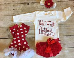 Baby Girl Christmas Outfit Newborn Girls by KeepsakeKonnections