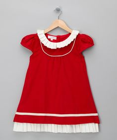 Red & Cream Frilly Cord Dress - Infant & Toddler