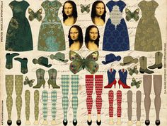 Mona Lisa Paper Dolls- love the leggings! I think she would have a beret or two in her wardrobe as well. Paper Doll Template, Origami, Monalisa, Paper People, Vintage Paper Dolls, Vintage Birds, Printable Paper, Paper Toys, Art Plastique