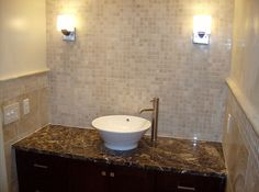 travertine tile and backsplash bathroom remodeling job in restaurant in tysons - Travertine Restaurant Ideas
