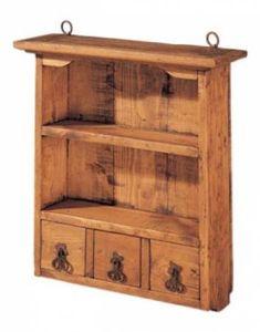 mueble especiero con 3 cajones y baldas de madera, rustico mueble madera y hierro a mano