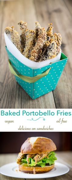 Crispy on the outside, tender on the inside, these baked portobello fries are vegan and completely oil-free. Try them with Horseradish Comeback Sauce!