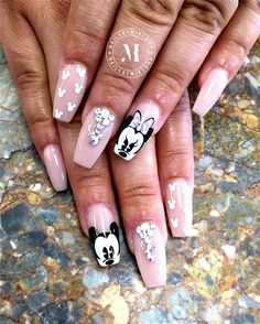 Heart shape and airplane nails, There are 23 elegant and beautiful wedding nail ideas. No matter which you like, you will definitely find the right design here. Disney Acrylic Nails, Summer Acrylic Nails, Best Acrylic Nails, Acrylic Nail Designs, Nail Art Designs, Gorgeous Nails, Pretty Nails, Swag Nails, My Nails
