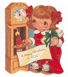 Little Girl Gift Clock Candle Holder Flocked Vintage Christmas Greeting Card… Old Christmas, Old Fashioned Christmas, Christmas Paper, Vintage Christmas Cards, Christmas Greeting Cards, Christmas Greetings, Christmas Ornaments, Little Girl Gifts, Cute Little Girls