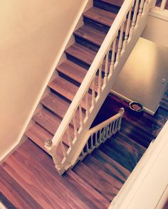 Red Iron Bark Staircase makeover  and tongue and groove flooring for the landing #stairtread, #solidtreads, #hardwoodtreads, #woodenstairs, #staircase-makeover, by Timber Floors Pty Ltd 7 Jumal Pl, Smithfield NSW 2164
