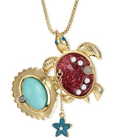 Betsey Johnson Necklace, Gold Tone Glass Pearl Crystal Turtle Pendant - Fashion Jewelry - Jewelry & Watches - Macy's