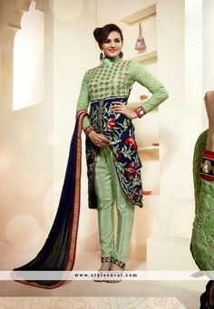 Breathtaking Green And Blue Color Achkan Style Salwar Suit