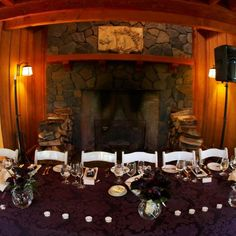 Inside the Great Hall, the head table was covered with rich purple fabric.