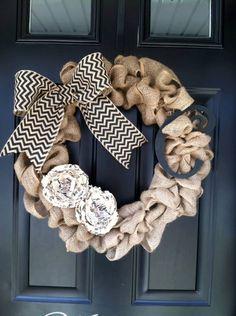 Burlap Wreath Summer wreath  spring Wreath  Chevron by jennyCmoon, $50.00