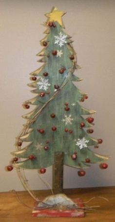 Primitive Distressed Green Wooden Christmas Tree with Red Bells 24 H # 5785 Christmas Wood Crafts, Wooden Christmas Trees, Primitive Christmas, Outdoor Christmas, Country Christmas, Christmas Projects, Winter Christmas, Holiday Crafts, Christmas Holidays