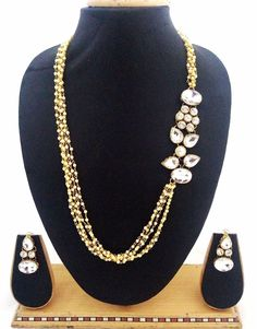 Latest Indian Jewelry CZ Pearl Designer Party Womens Necklace Earrings Gift Set #ShouryaExports #Necklace