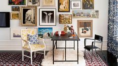 DIE for Jonathan Adler, die even more for the sheep rug, bold patterns and mirage of prints on the wall! Love this space