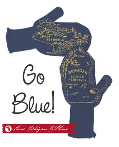 100% Acrylic knitten mittens, with our signature Michigan Mittens© maps printed in Maize.  This product is 100% USA Made.