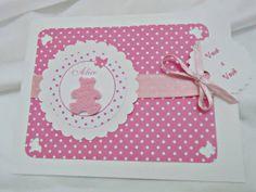 Convite ursinha rosa scrapbook | Fernanda Ferreira Convites Artesanais | 31A86B - Elo7
