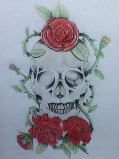 Cráneo con Rosas-Prismacolor