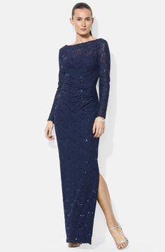 Lauren ralph lauren plus a line lace dress