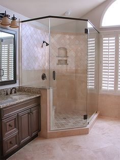A travertine stone master bathroom remodeling project