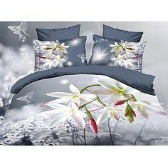 shuian® dekbedovertrek set, 4 delig pak troost eenvoudige moderne ventilatie gedrukt 3d bloempatroon vol - EUR € 96.65